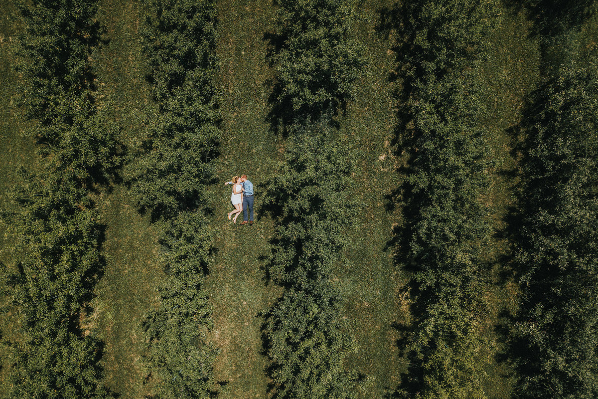 drone photographs of couple laying in an apple orchard during their engagement photography session