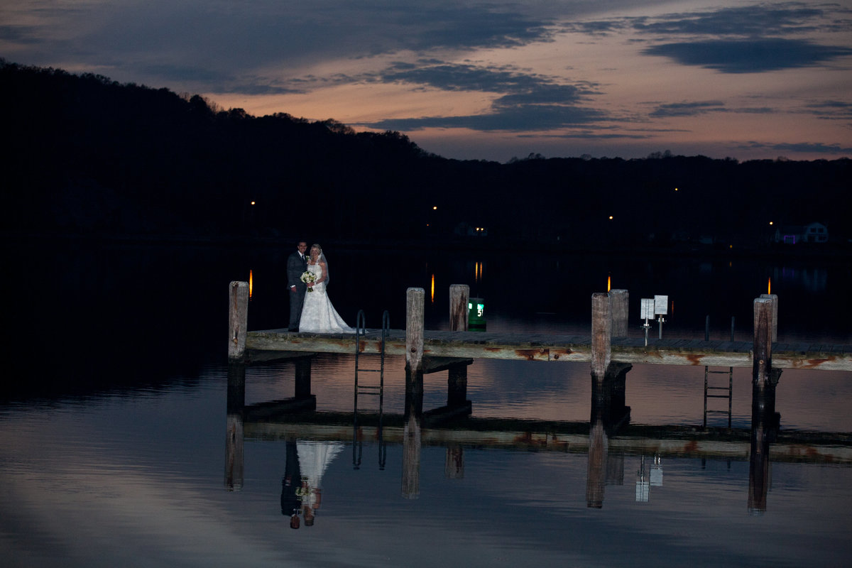 mystic seaport wedding couple at night