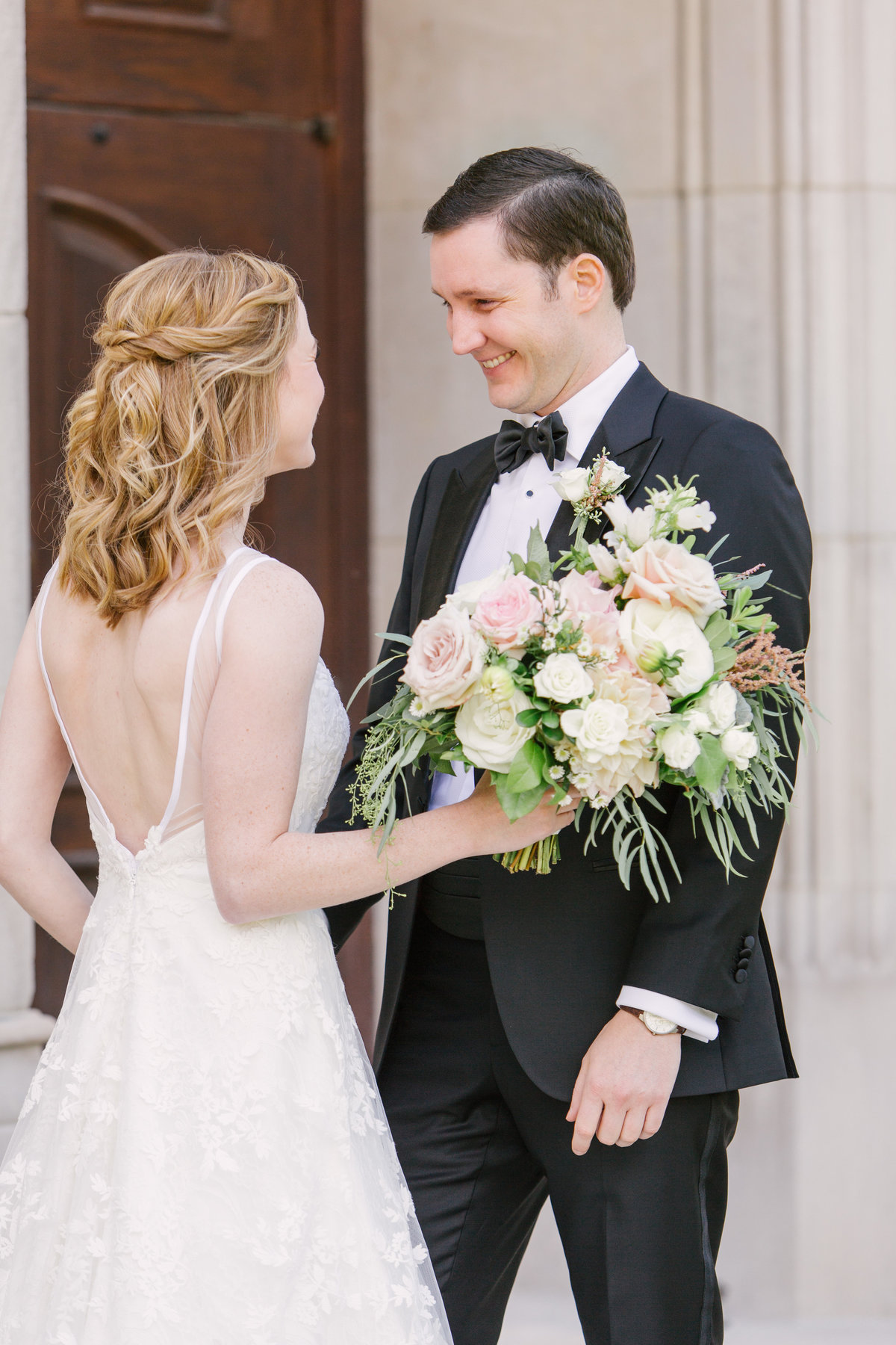 Scottish Rite Cathedral Wedding First Look Bride and Groom Photo