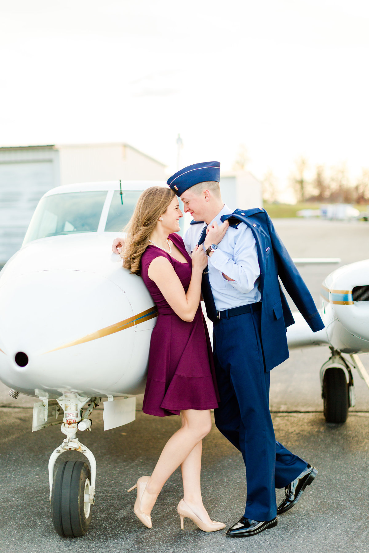 Airport Engagement Session Air Force Engagement Session at Shenandoah Valley Regional Airport in Weyers Cave, Virginia Emily Sacra Photography-52