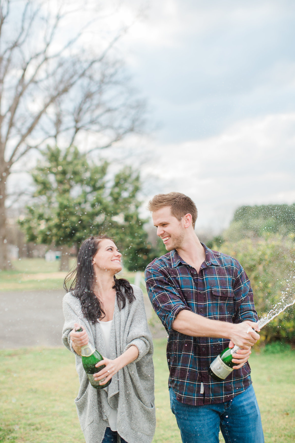 champagne engagement session
