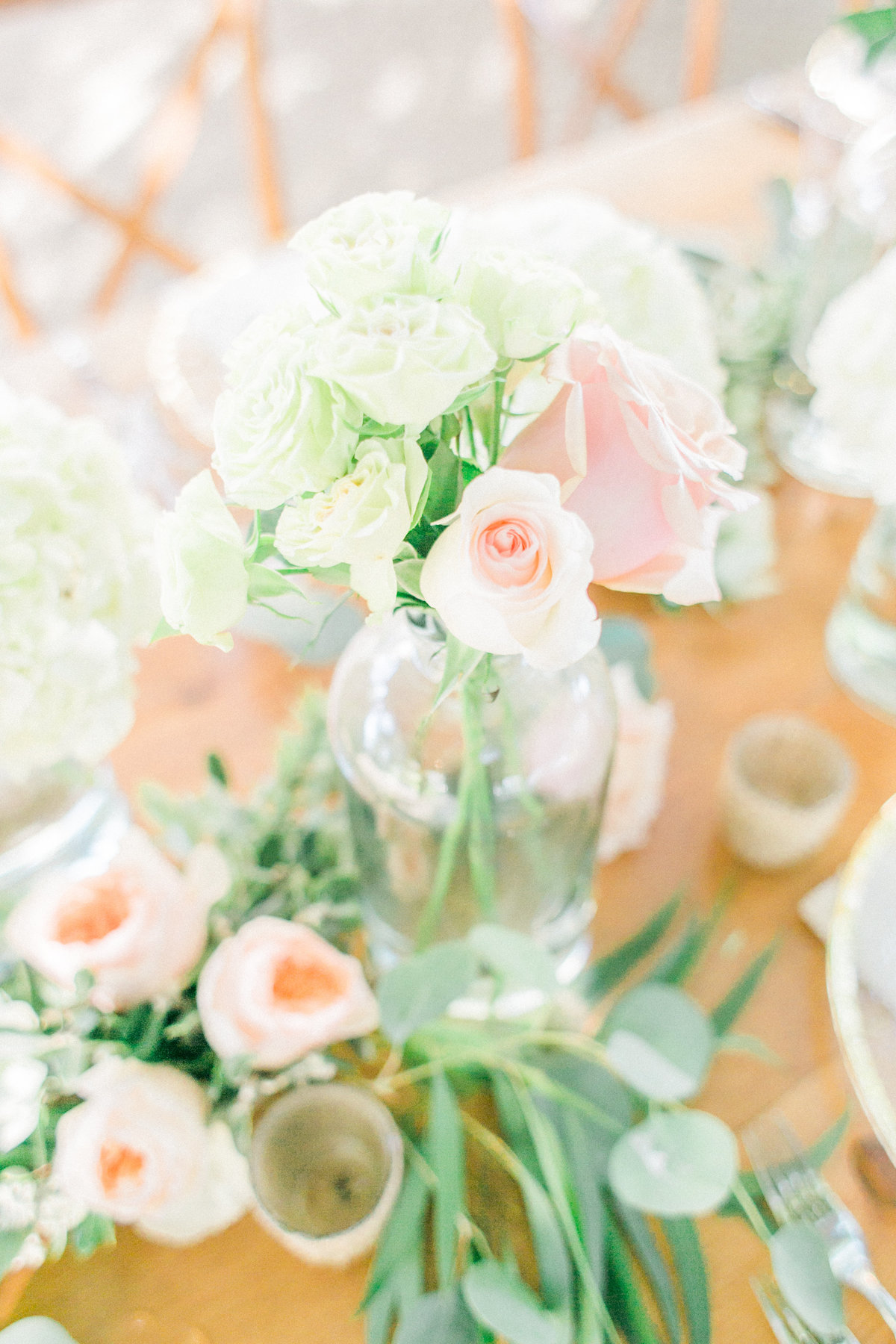 Blush Ivory Roses Centerpieces