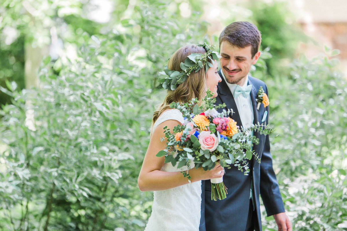 Charley Creek Gardens Wedding Bride and Groom Laughing Photo