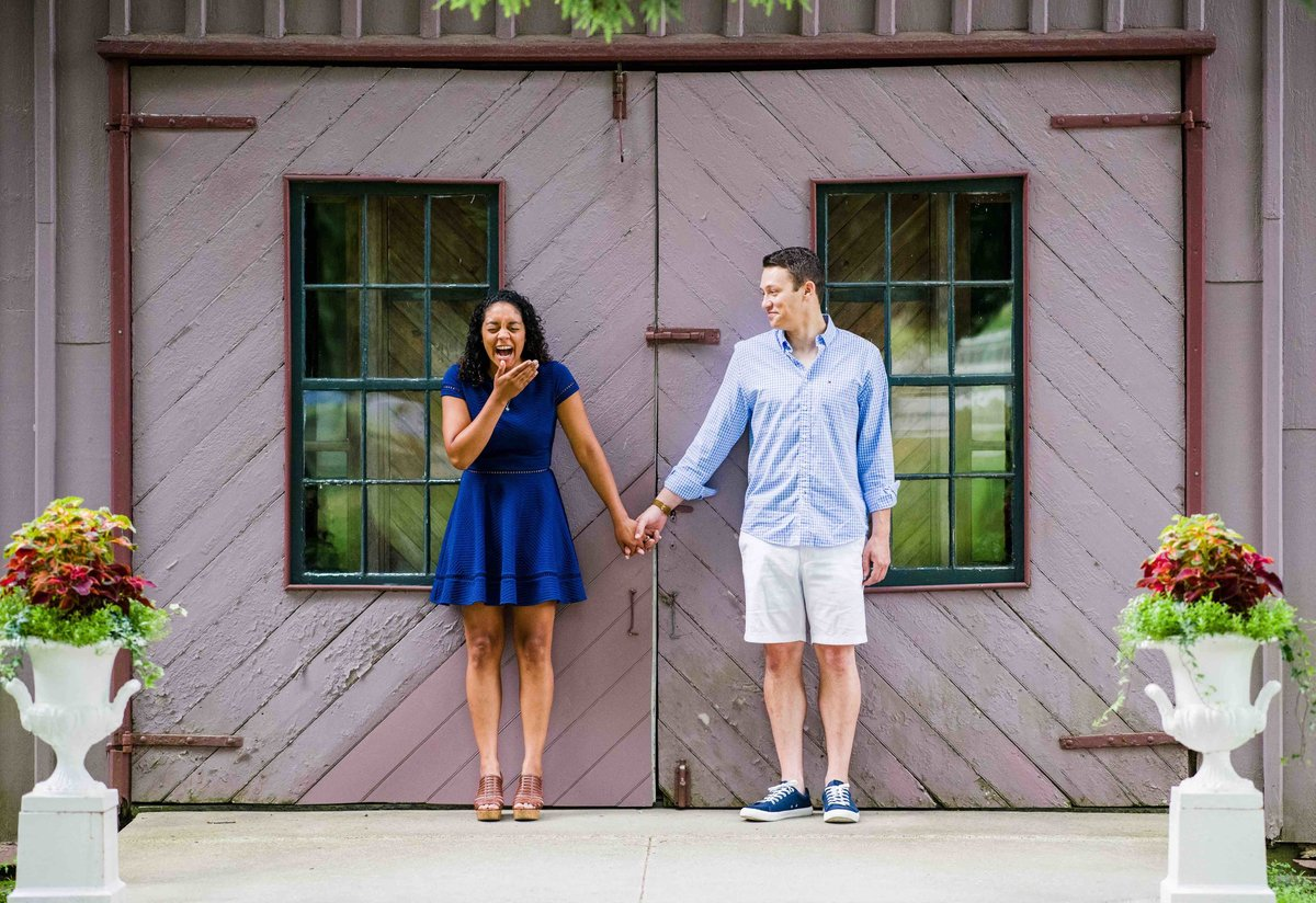 03 engagement photos in front of barn chippanee country club wedding