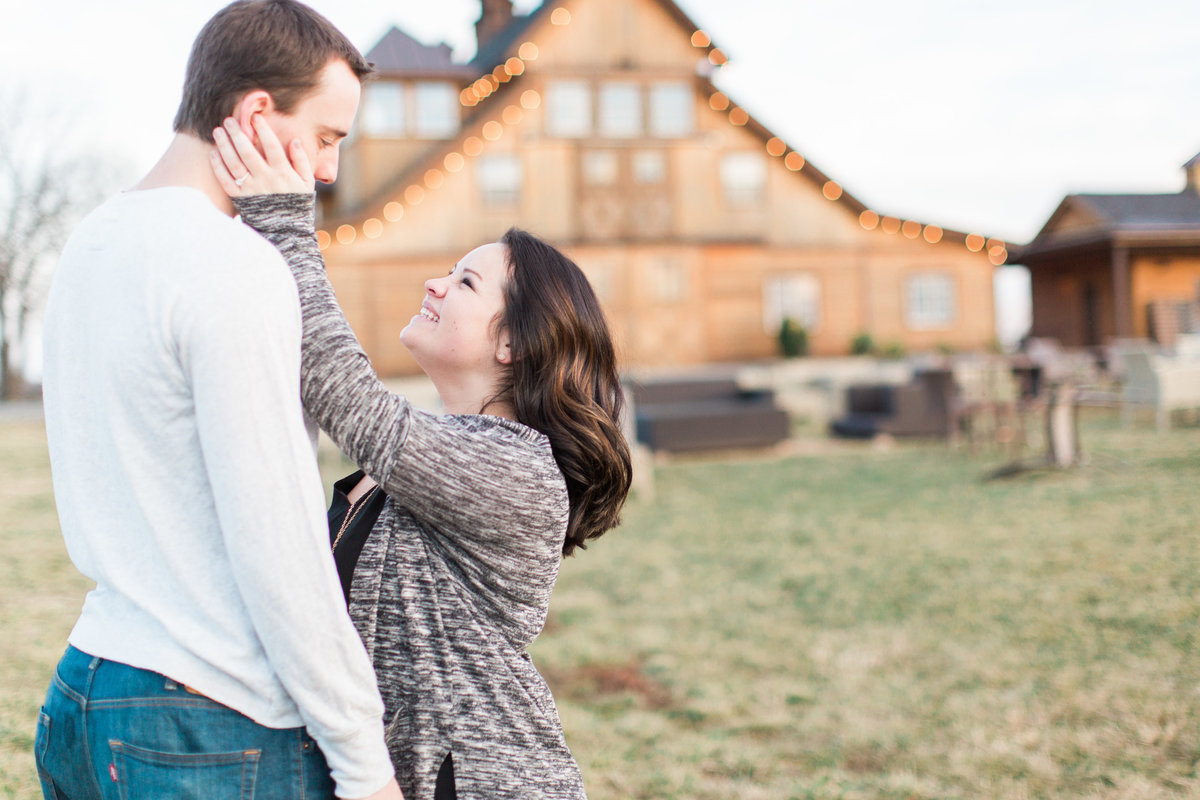 couple with barn in the background | stone tower winery engagement | virginia wedding photographer | chelsea schaefer photography