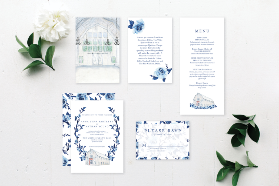 By Brittany Branson White Sparrow Barn hand painted wedding stationery