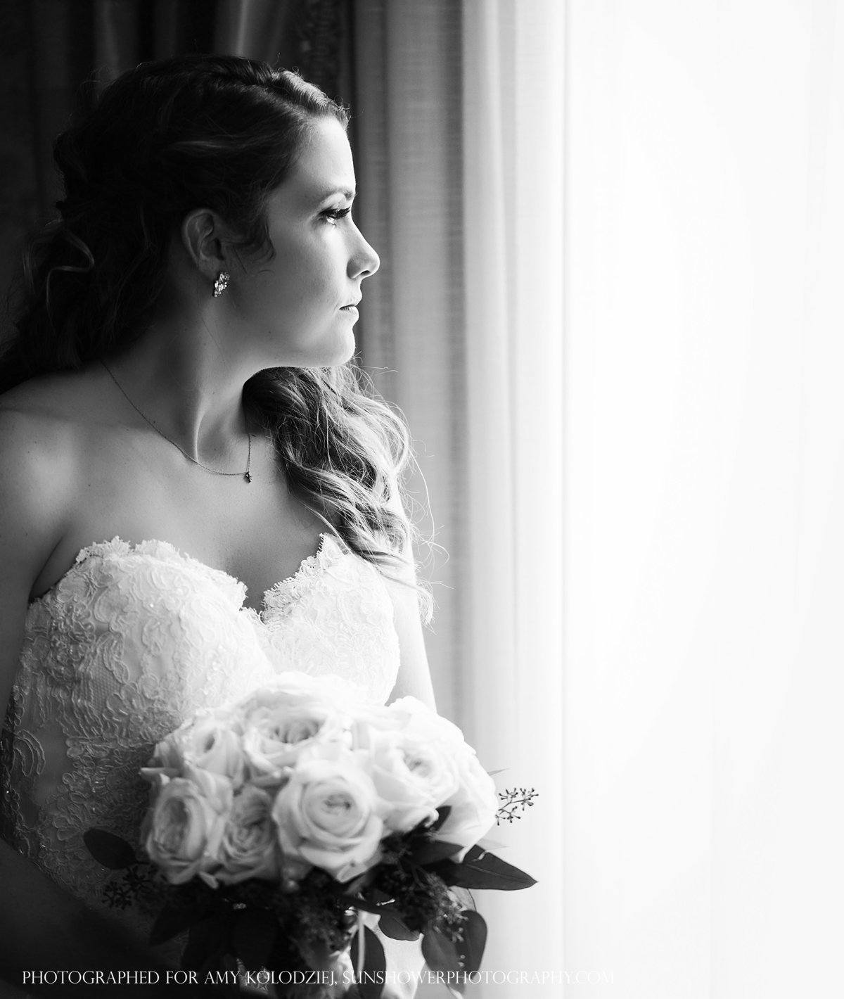 charlotte wedding photographer jamie lucido captures a peaceful moment as the bride awaits her first look with her father