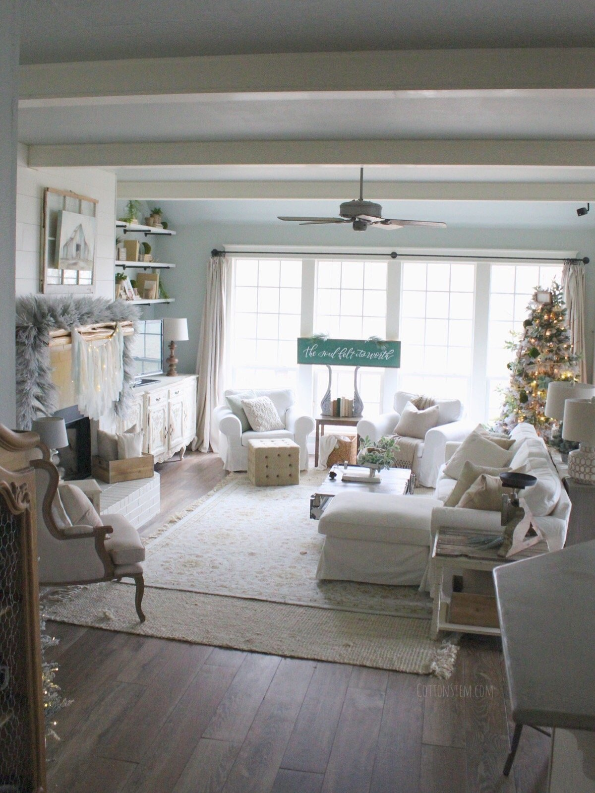 CottonStem.com farmhouse livingroom christmas decor