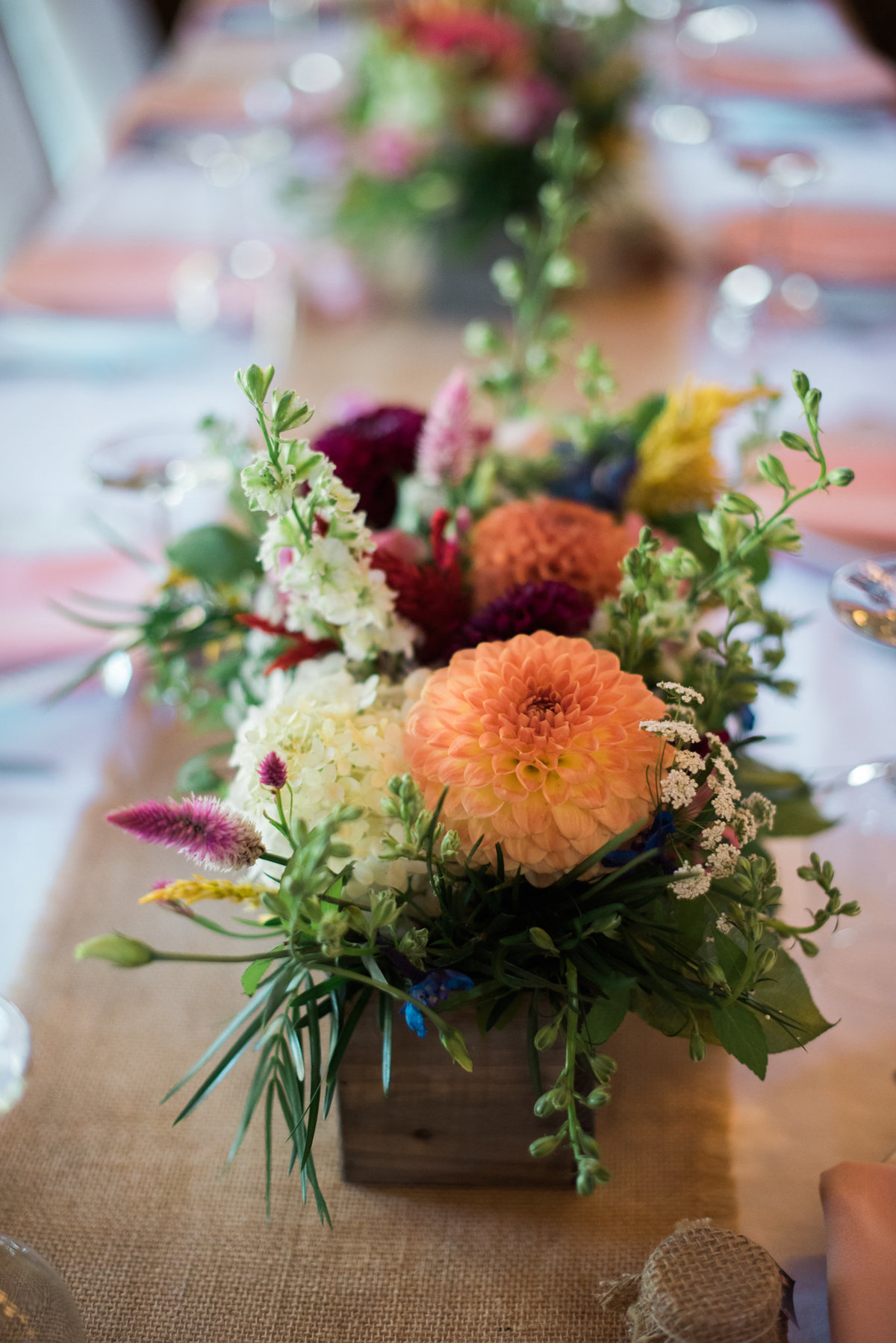Vermont barn wedding centerpiece