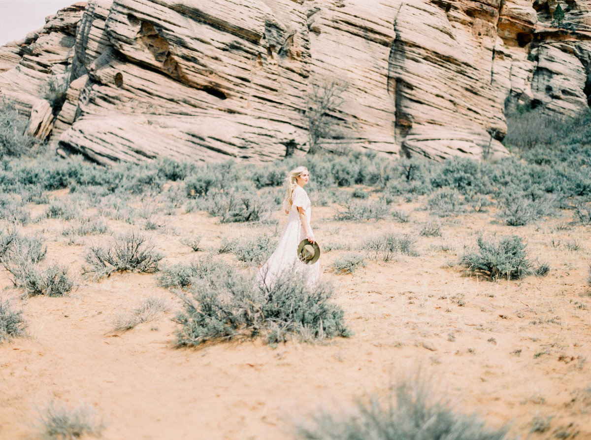 Zion National Park model wearing white reclamation dress