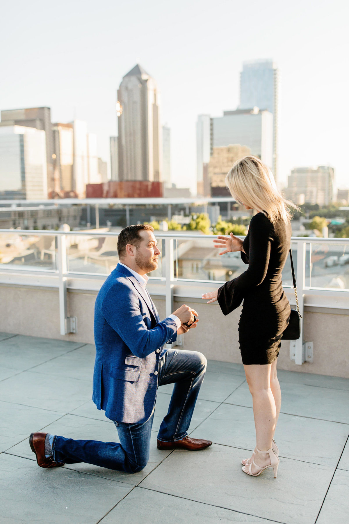 Eric & Megan - Downtown Dallas Rooftop Proposal & Engagement Session-29