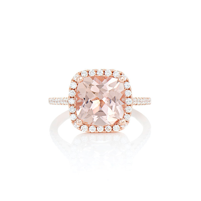 morganite diamond halo ring catalog photo for Minichiello jewellers