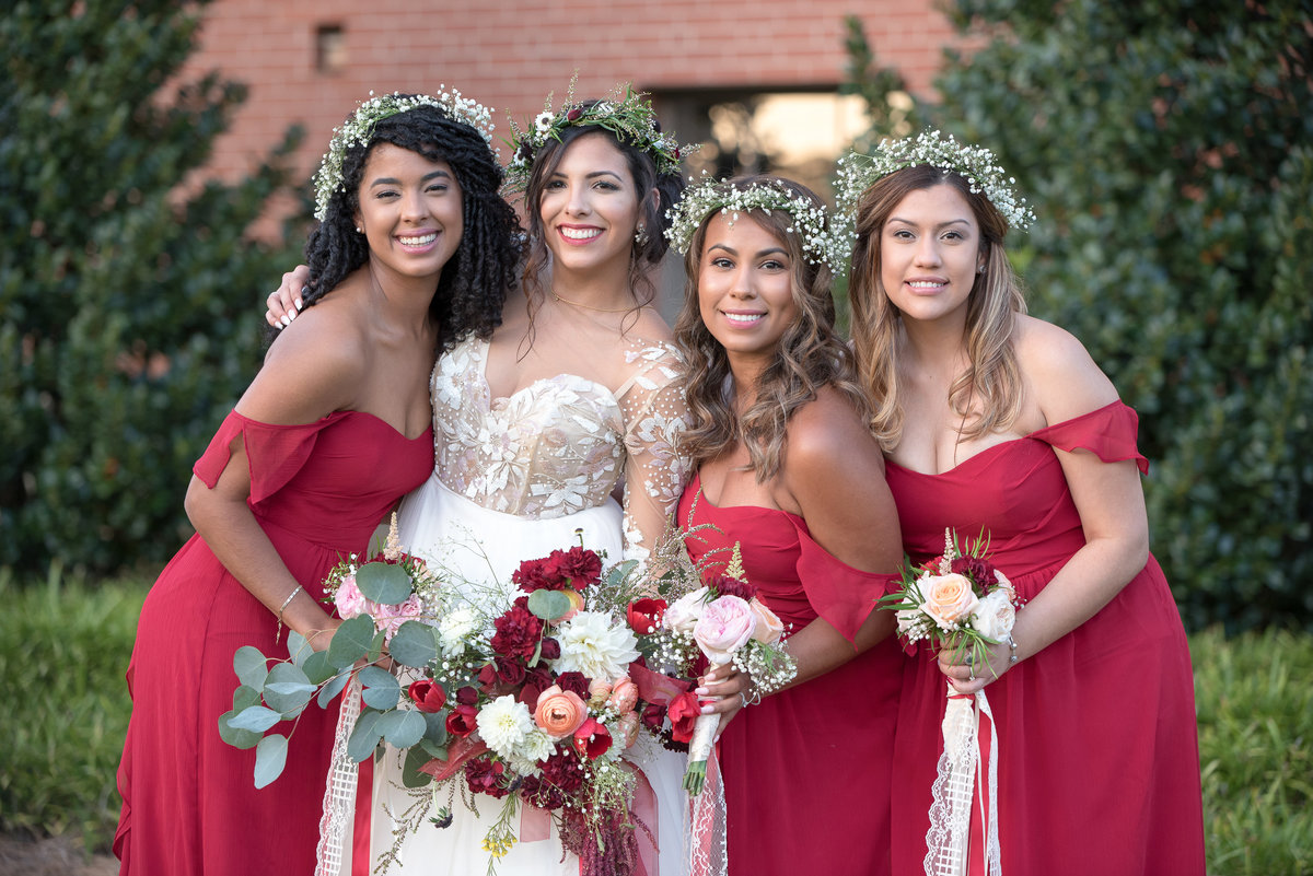 Marsala red bridesmaids dresses