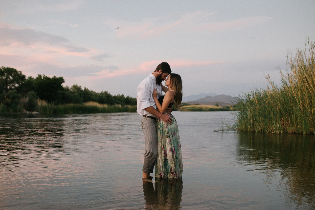 An in love couple during their adventure engagement session in Phoenix Arizona