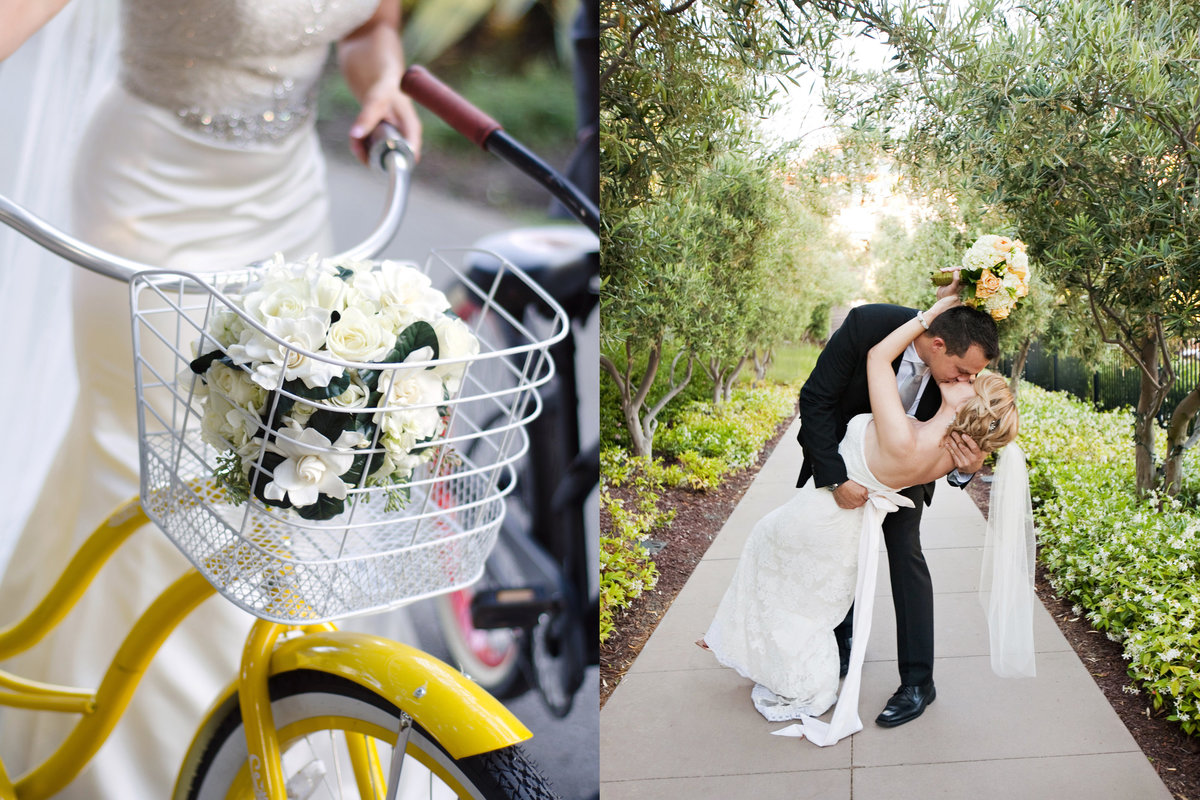 Rosewood Sandhill Wedding, Bride and Groom, Bride with bike, Jennifer Baciocco Photography