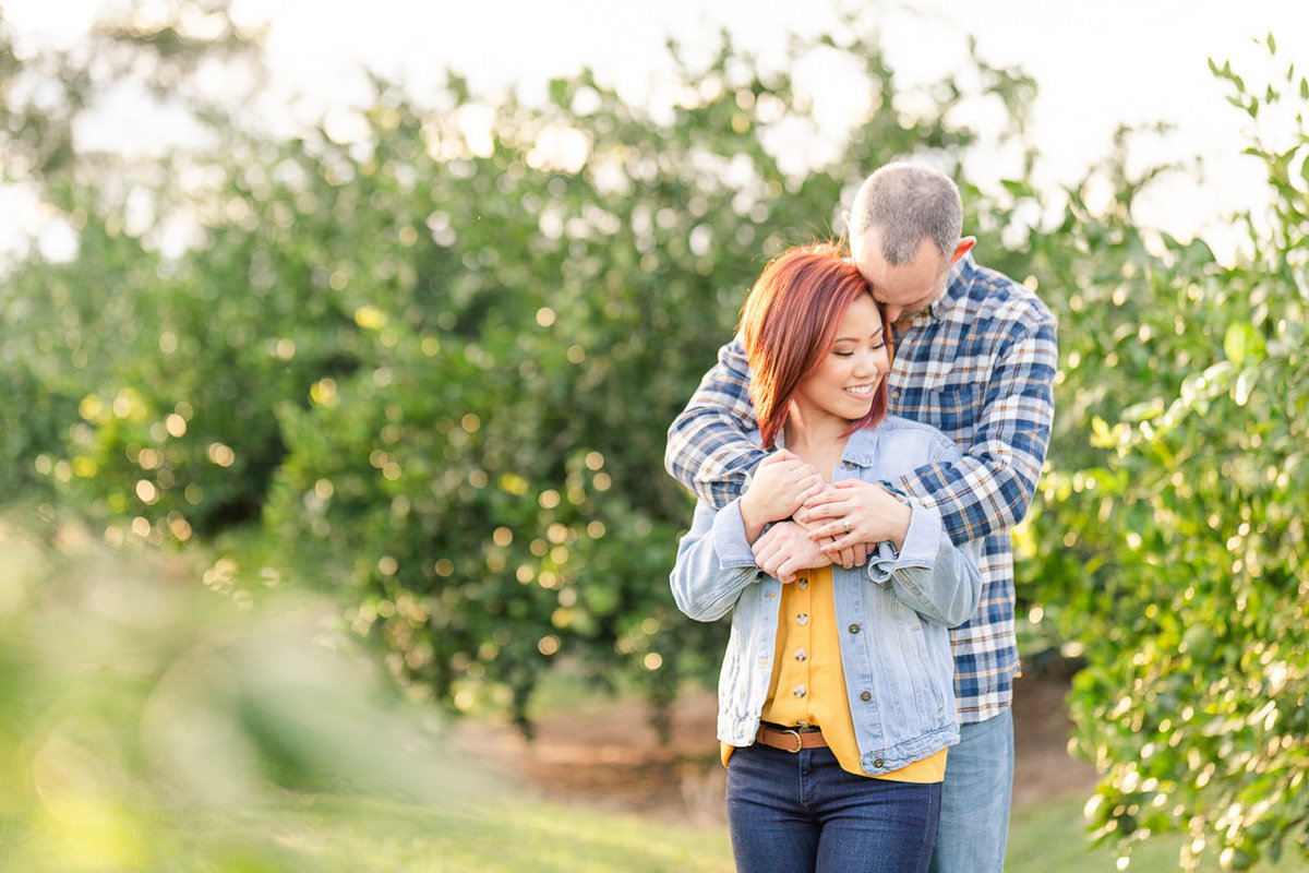 romantic orchard engagement session