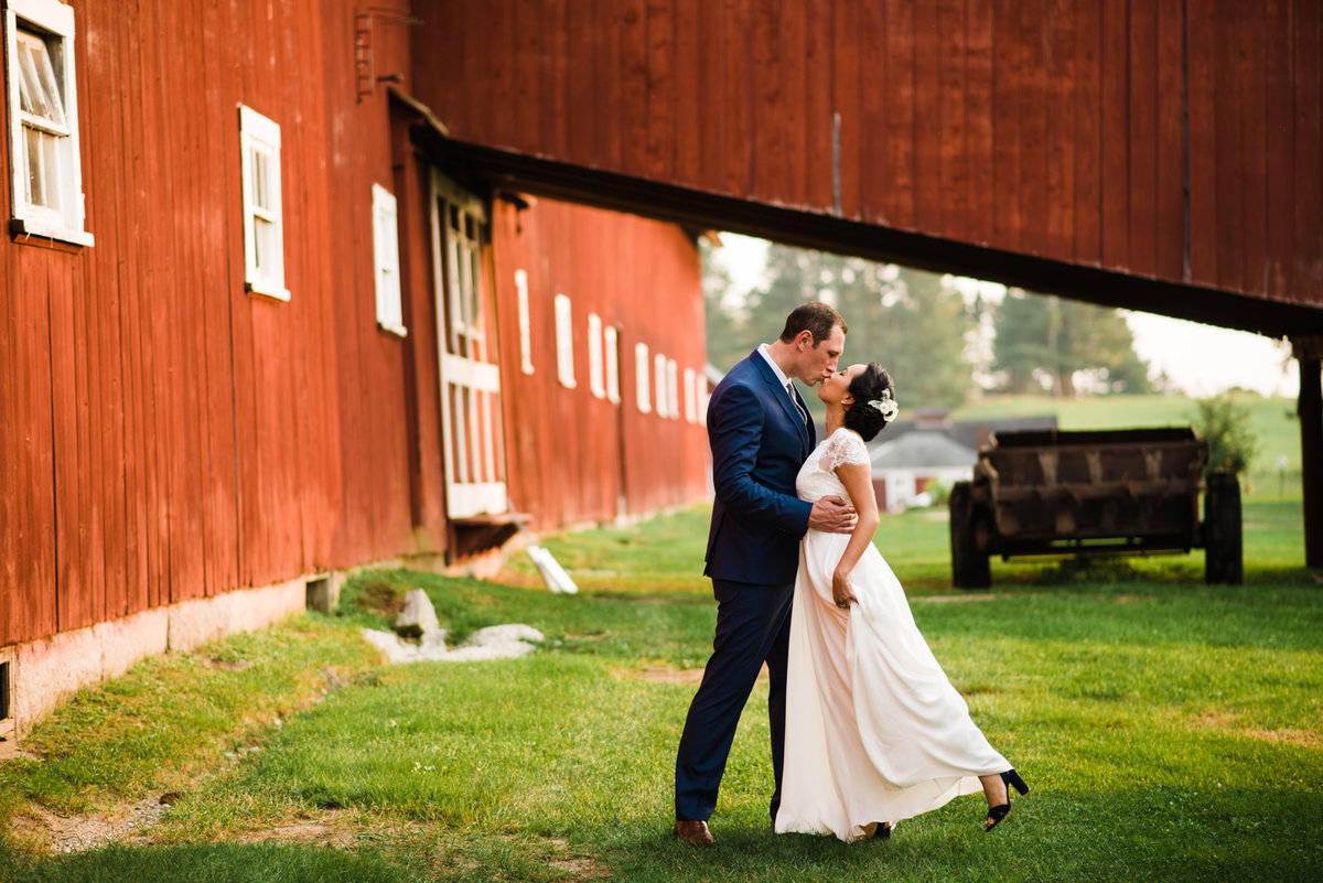 bride and groom dancing at Vermont barn
