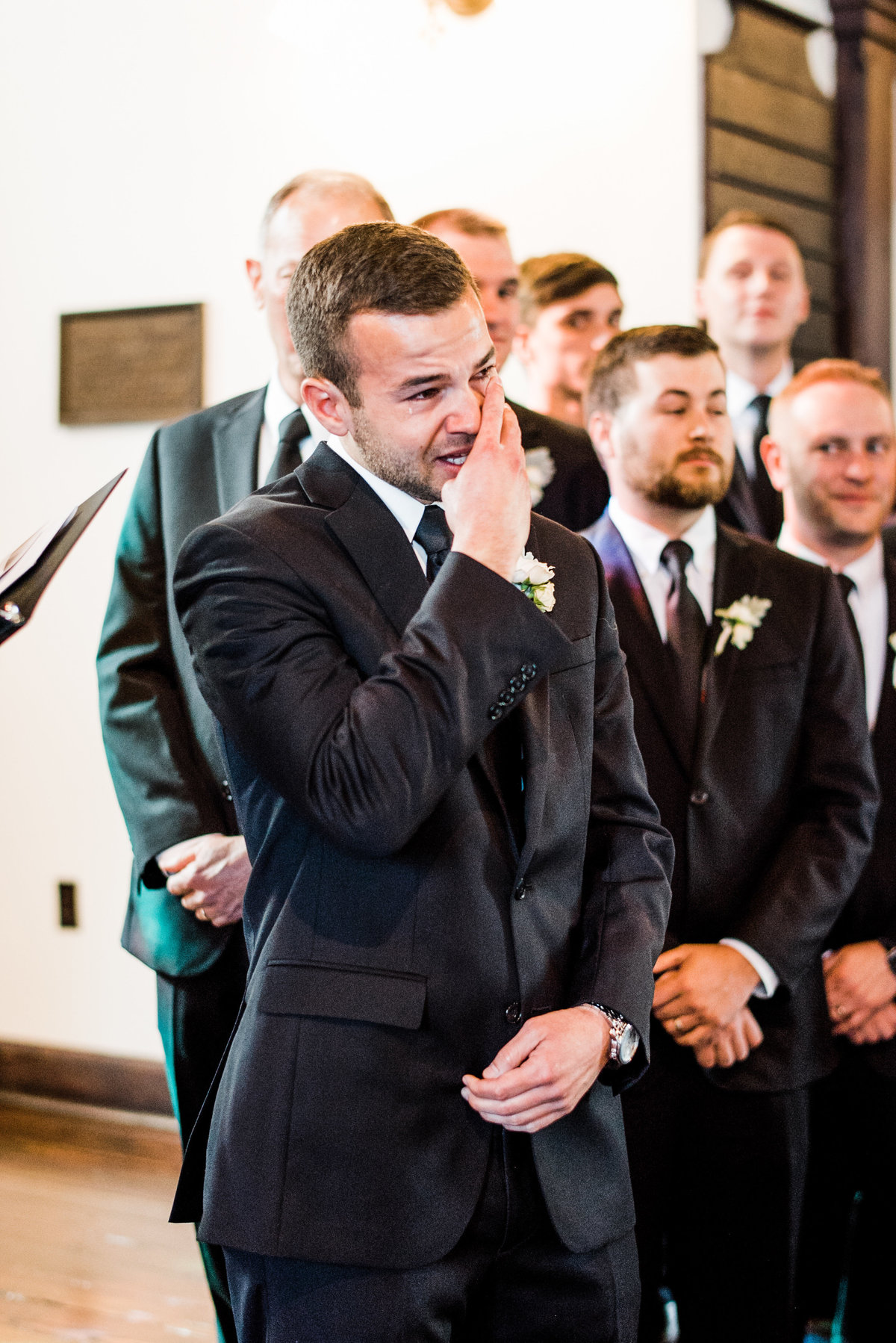 groom seeing bride emotional photo