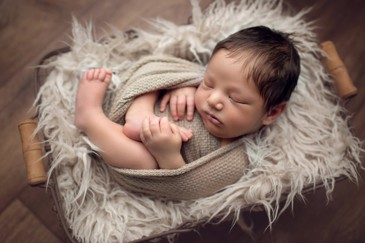 newborn laying in gray fur in basket with lots of hair