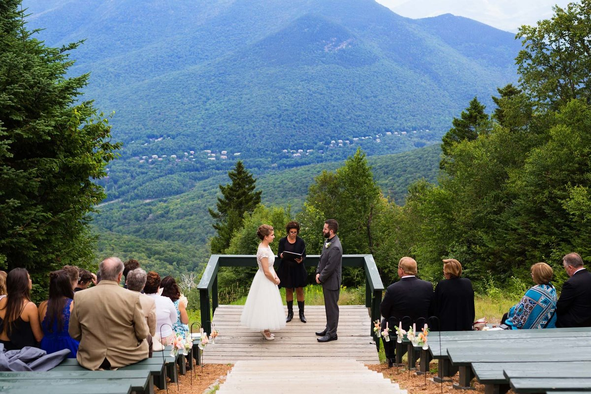 Loon Mountain Resort NH Wedding Photographers outdoor views during the ceremony New Hampshire Image I am Sarah V Photography