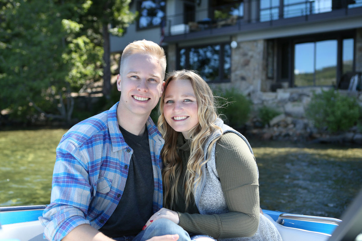 Engagement Photography on a Boat on Fallen Leaf Lake near South Lake Tahoe