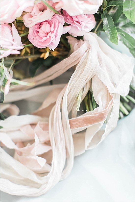 Blush Pink Mixed Velvet Ribbon Tied Bouquet