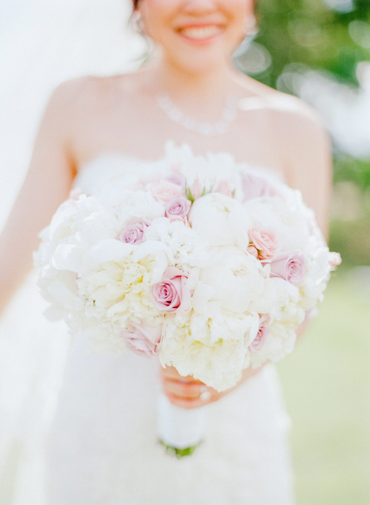 Blush Pink Roses and White Peonies Bouquet