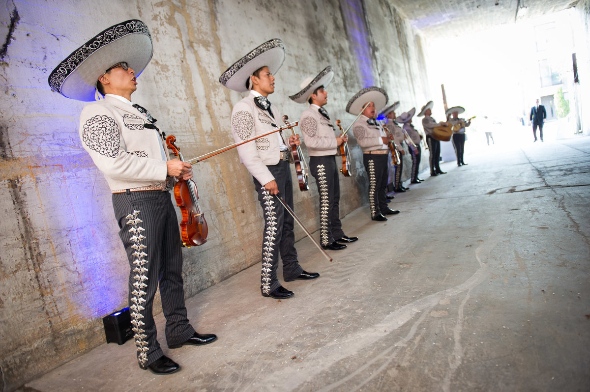 Mariachi band lines up to greet guests, Chicago event.