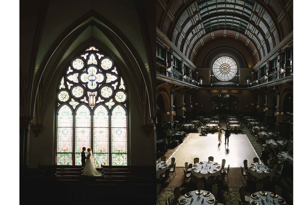 Left bride and groom stand in front of stain glass window at Fort Wayne Wedding. Right Bride and groom stand in middle of dance floor at Crowne Plaza Union Station