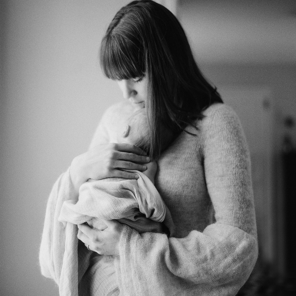 Portland Maine Black and White Film In Home Newborn Photographer Tiffany Farley