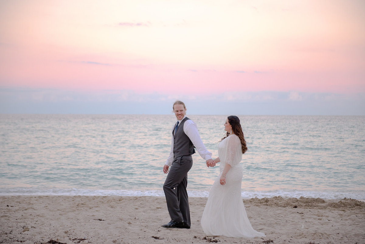 Sunny Isles Pink Sunset Destination Beach Wedding