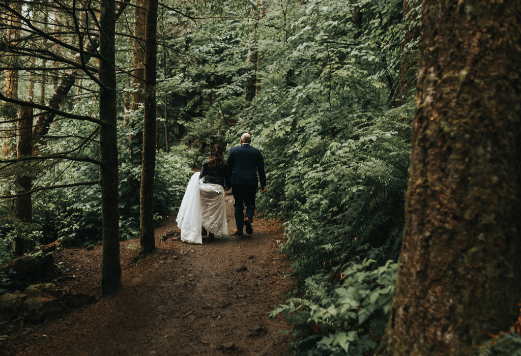 Bride and Groom portrait in the woods of Mt. Rainier during their elopement wedding.