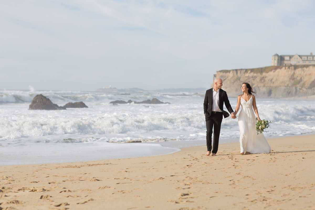 Ritz Carlton Half Moon Bay Beach Engagement and Wedding Photos