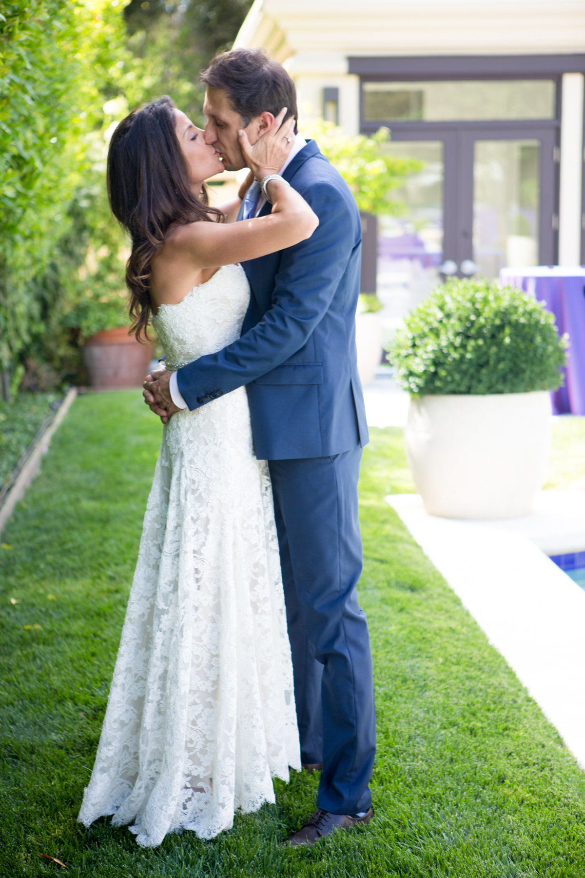 First Look and First Kiss Wedding Photography in Atherton California