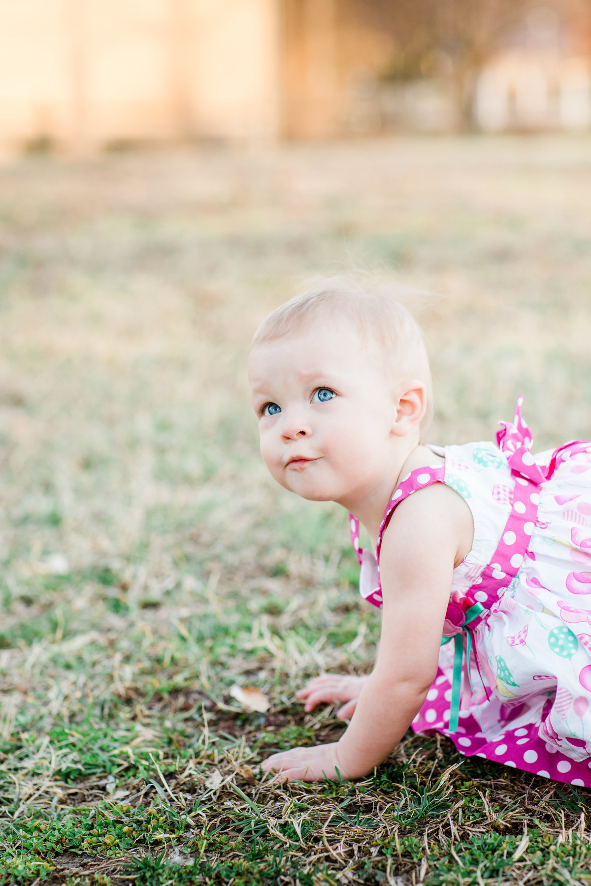 one year milestone session with baby in pink polka dot dress