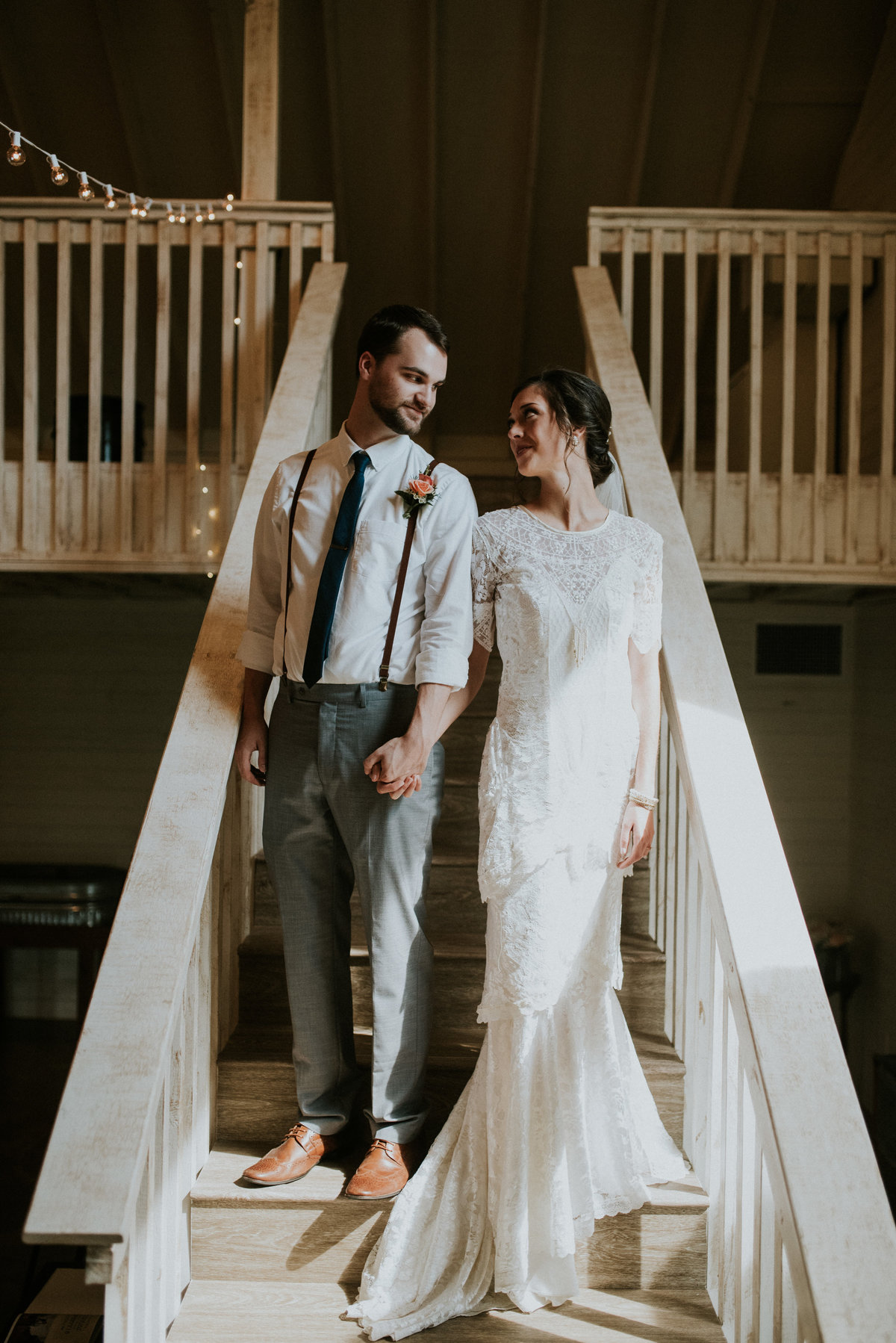Couple standing on a staircase