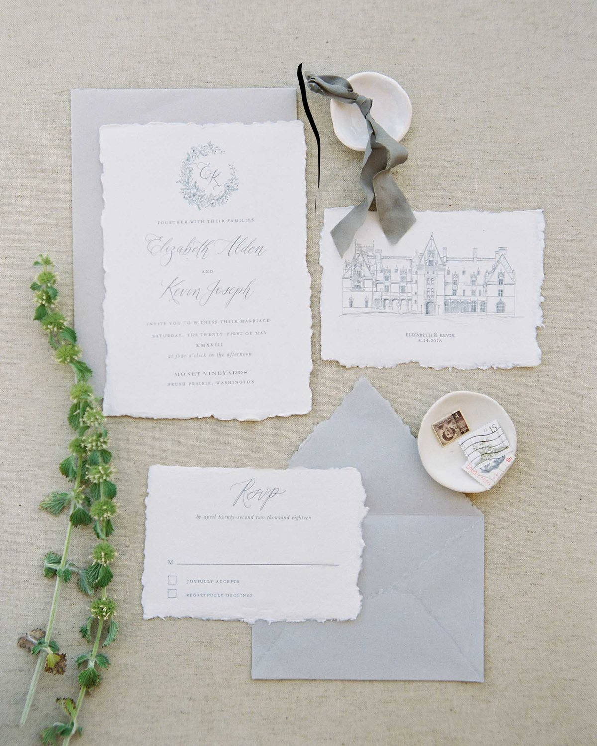 Plume & Fete fine art wedding invitations with venue illustration chateau wedding