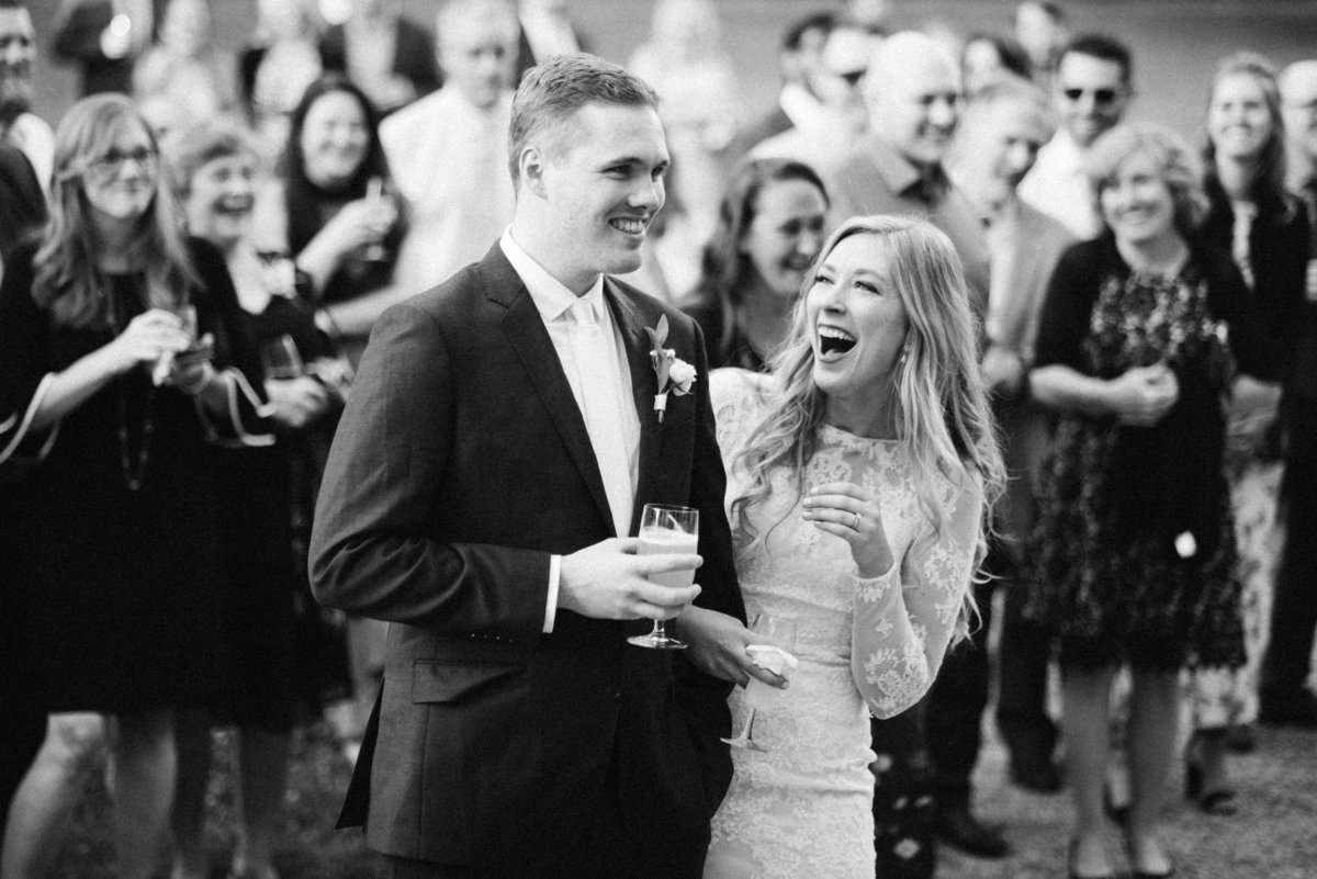 lyman estate wedding couple laughing