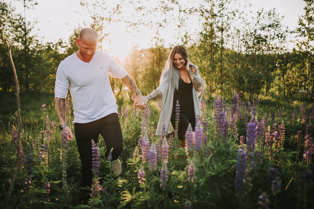 Chilliwack BC Engagement Photo Sunset Lupine Field
