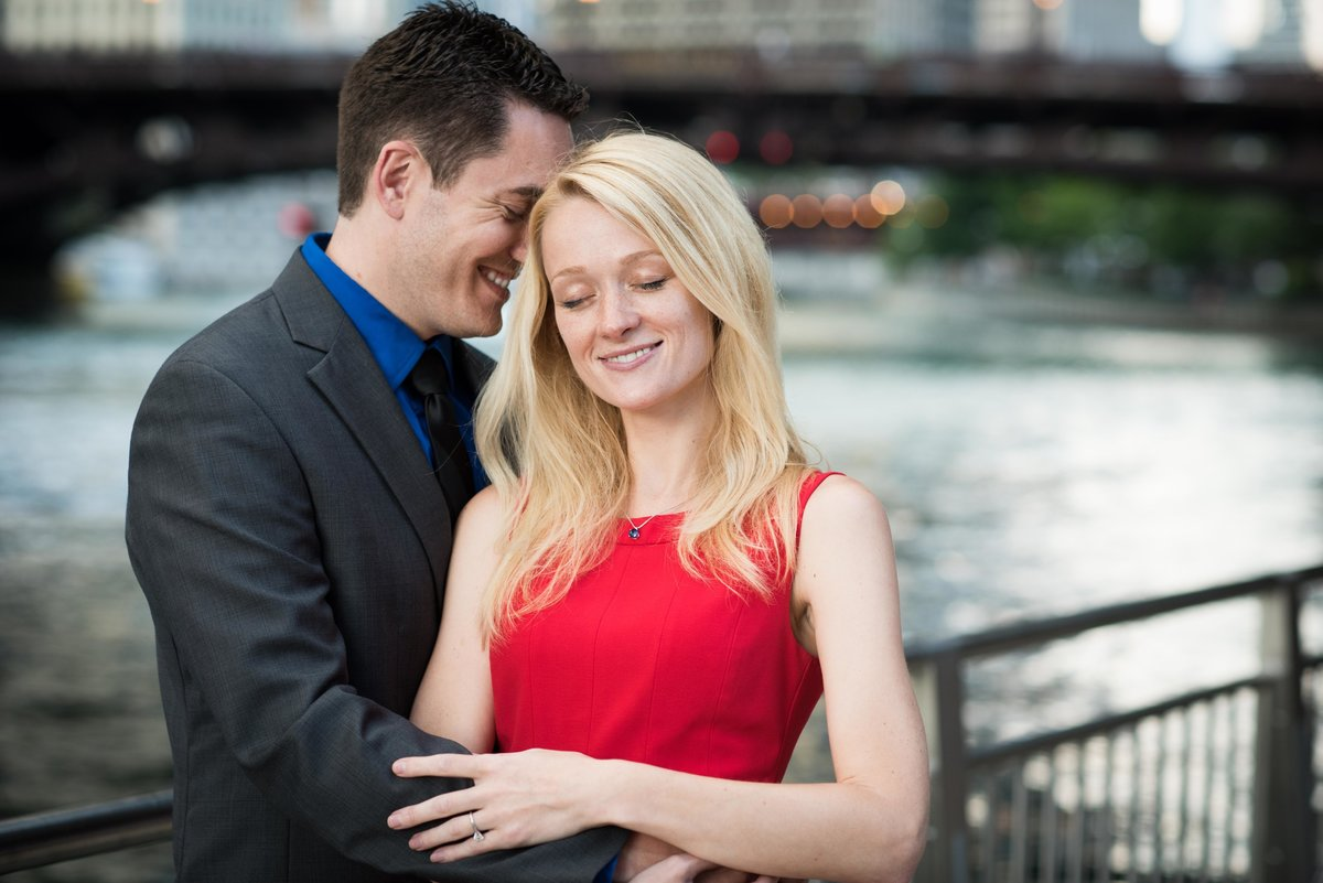 Couple on Chicago Riverwalk, engagement session.