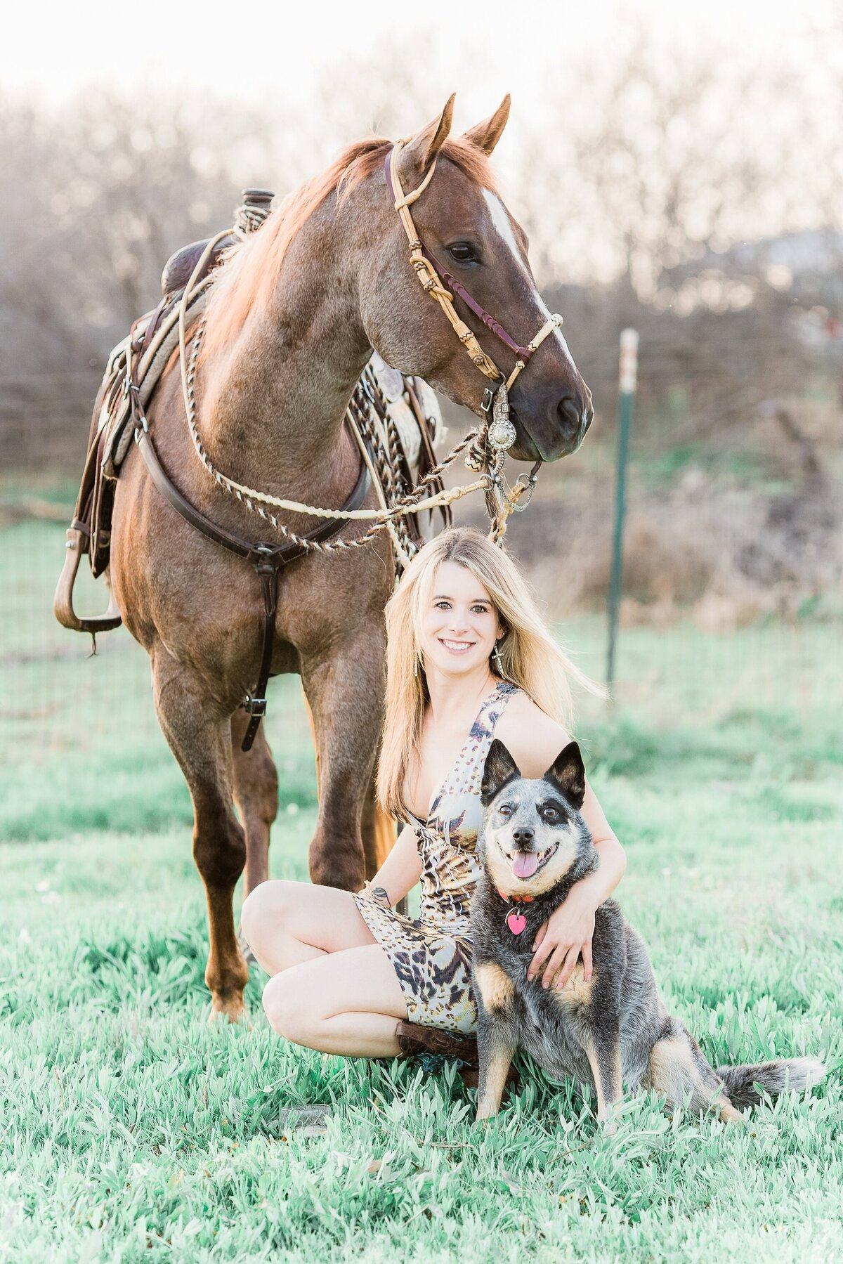 girl kneeling in front of her horse with her dog next to her.