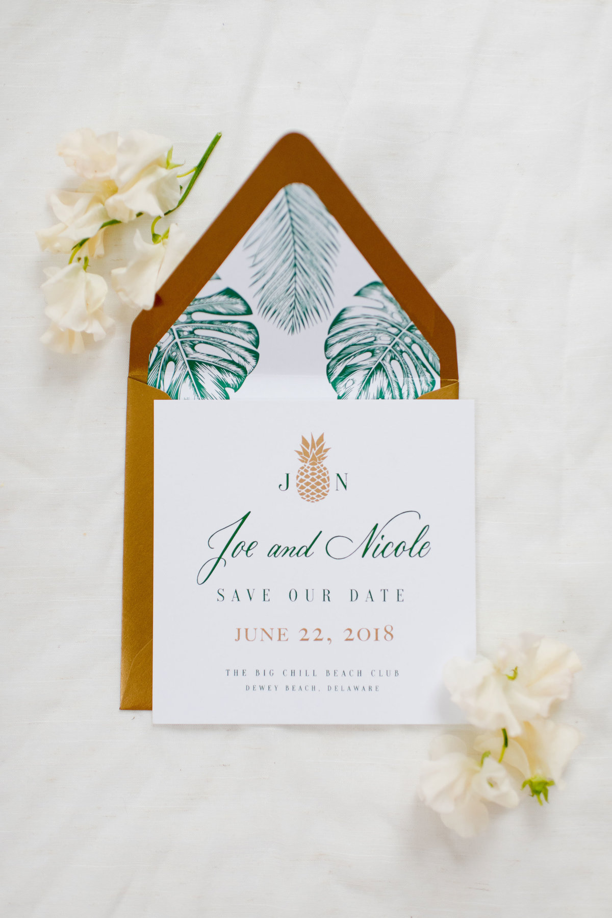 Beautiful hand lettered tropical invitations