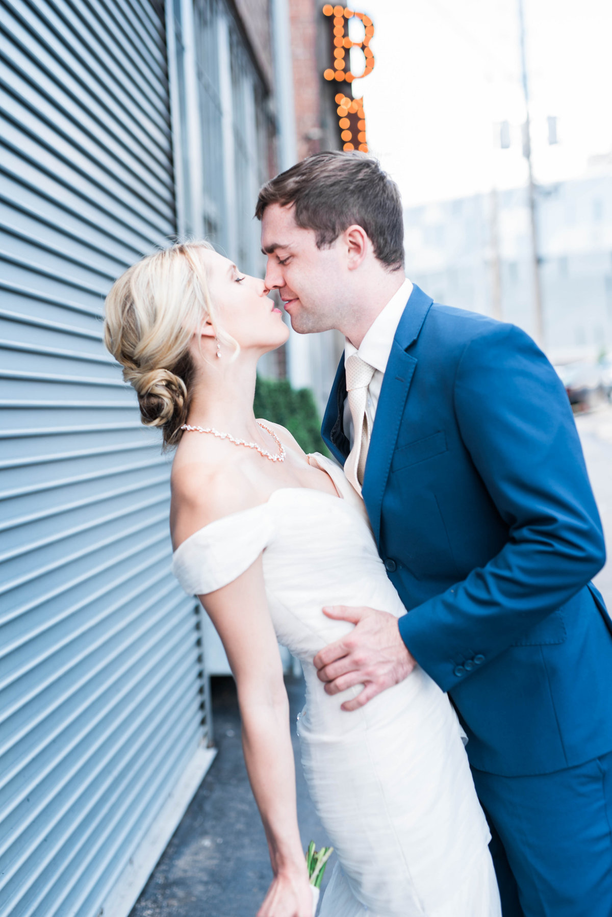 Bride and Groom in a formal downtown wedding