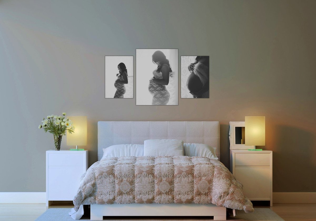 Fine art maternity photos canvas wall gallery by Hudson Valley NY maternity photographer in Cornwall NY photo studio near West Point