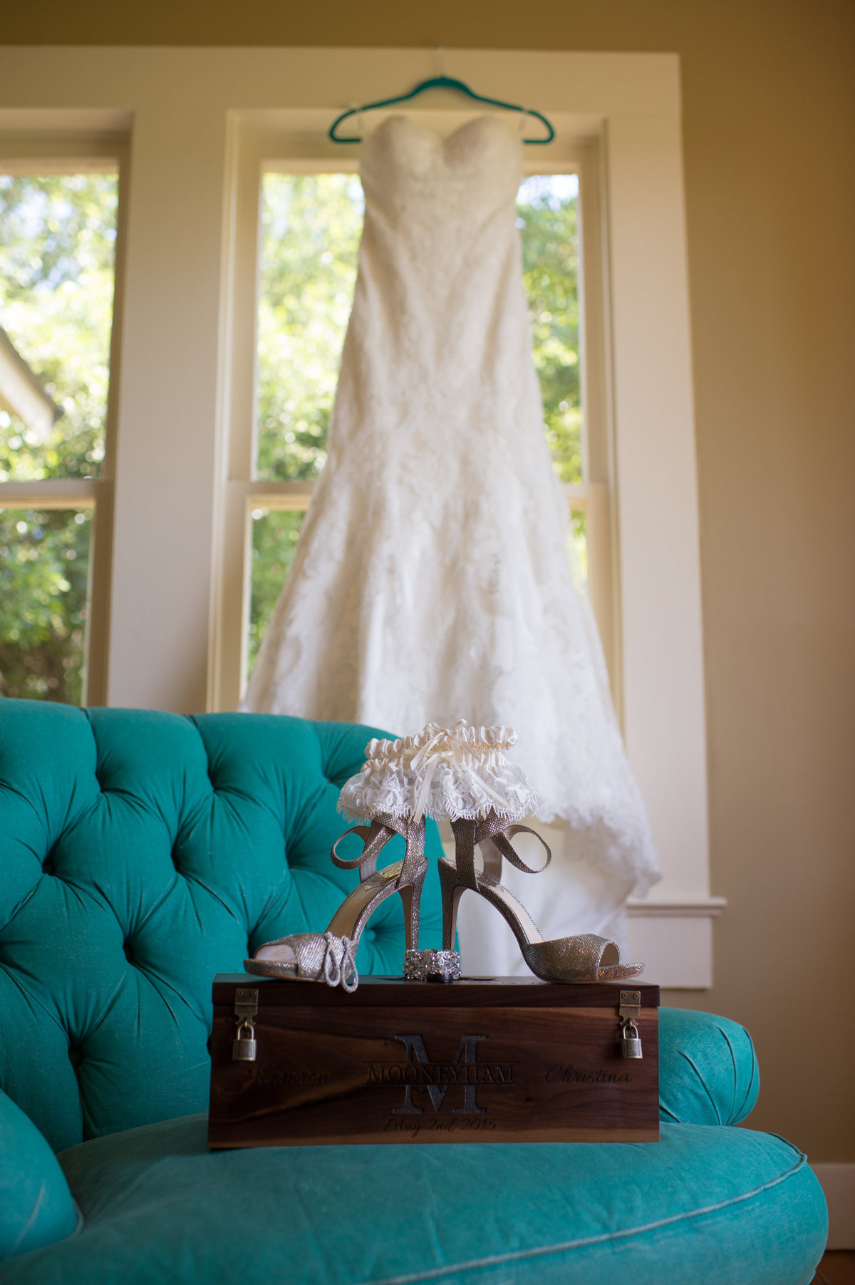 River Rock Event Center Texas  Brides accessories dress shoes and garter teal green chair