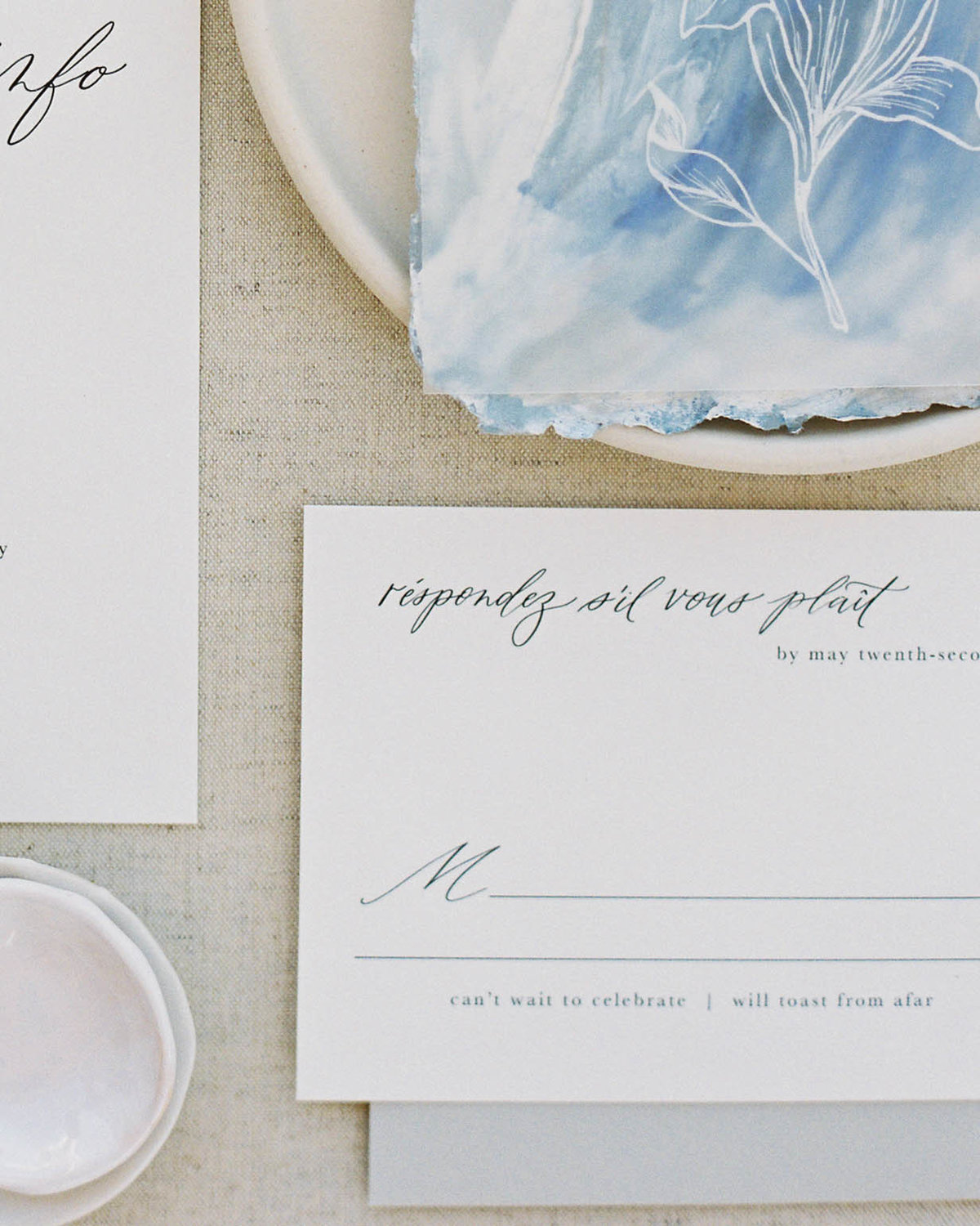 Plume & Fete coastal inspired artful invitation suite response card