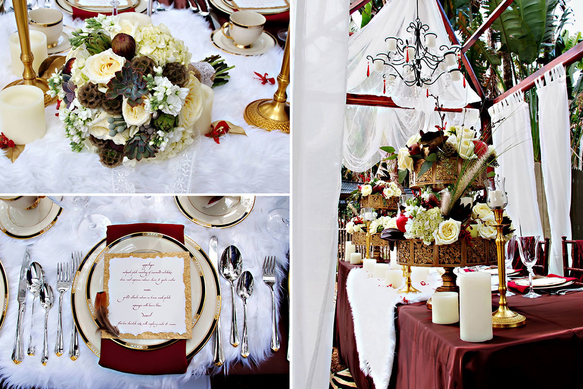 jungle theme wedding centerpiece and details