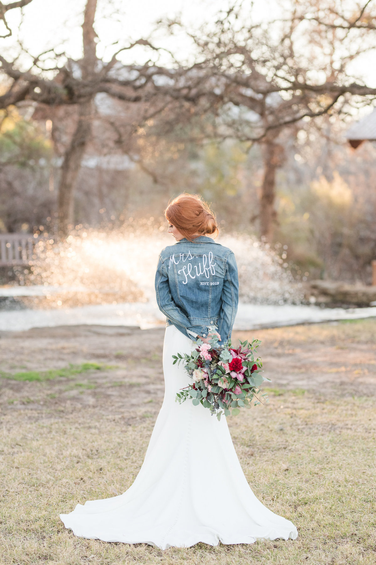 Cedar Skies Barn Bridal Portrait in jean jacket