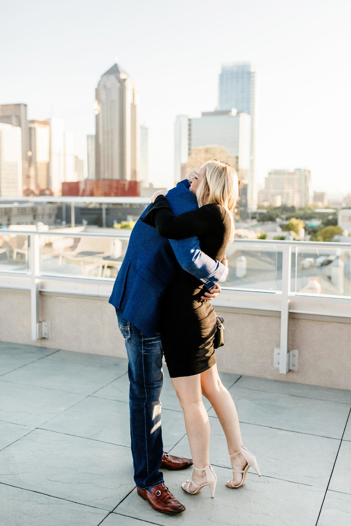 Eric & Megan - Downtown Dallas Rooftop Proposal & Engagement Session-39