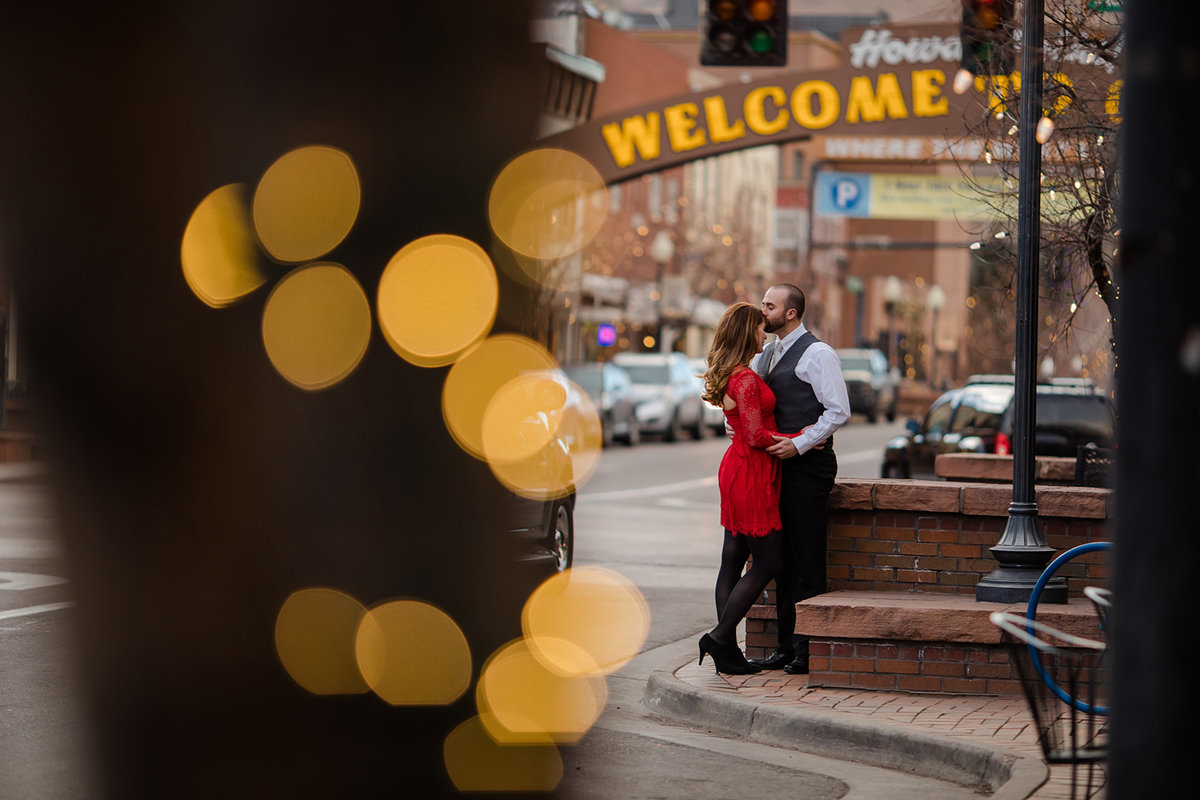 Golden dressed up engagement session